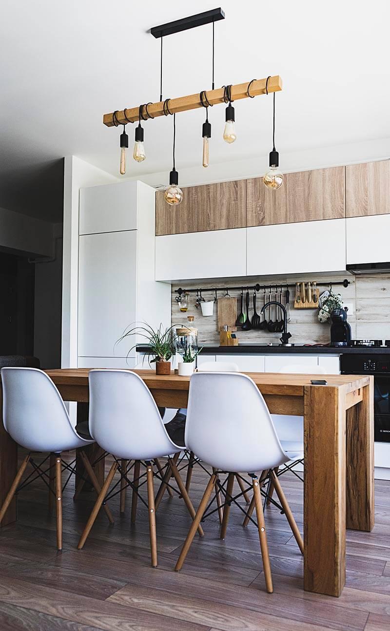 duurzame keuken met aangepaste verlichting